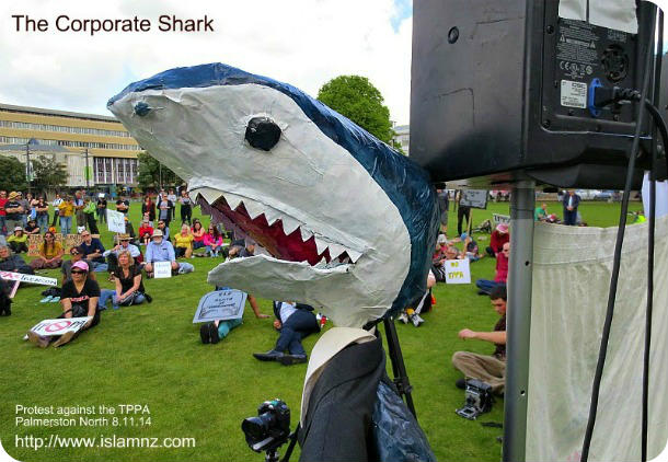 TPPA protest: The Corporate Shark