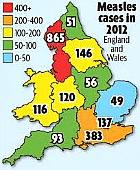 Measles map, UK, 2012