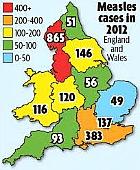 Measles map, UK, 2012